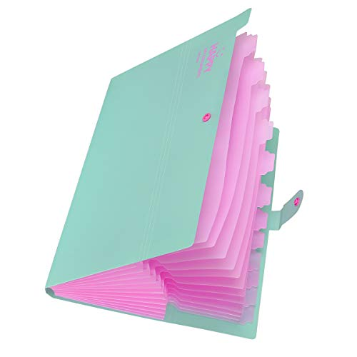 Yigou Expanding File Folders 12 Pockets Accordion File Folder A4 and Letter Size Paper Document Organizer Folders for School Office (Jade)