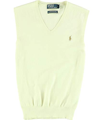 Ralph Lauren Mens Solid Sweater Vest, Off-White, Small