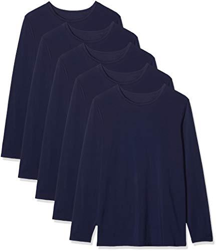 Marca Amazon - MERAKI Camiseta interior Hombre, Pack de 5, Azul (Navy), M, Label: M