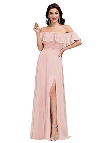Ever-Pretty Damen A-Linie Abendkleid schulterfrei Rosa 42