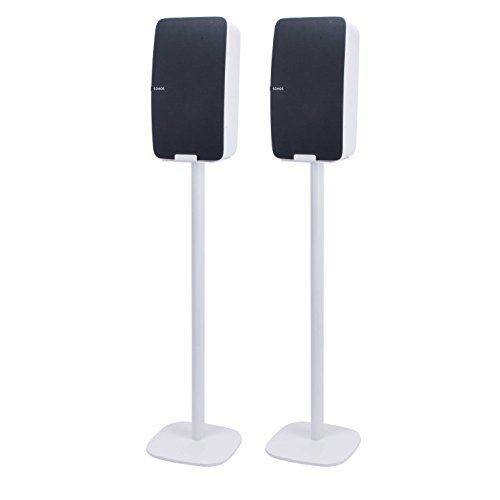 Vebos Floor Stand Sonos Play 5 gen 2 White Set - Vertical en Optimal Experience in Every Room - Compatible with Your Sonos Play 5 Speaker