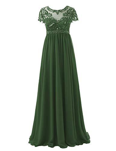 Abendkleider Lang Chiffon Brautmutterkleider Festkleid A-Linie Empire Ballkleid Groß Größe Hochzeits Partykleid Dunkel grün 58