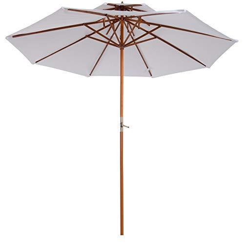 ombrellone da spiaggia in legno Outsunny Ombrellone da Giardino Spiaggia Parasole Doppio Tetto in Legno Φ2.65*H2.64m Crema