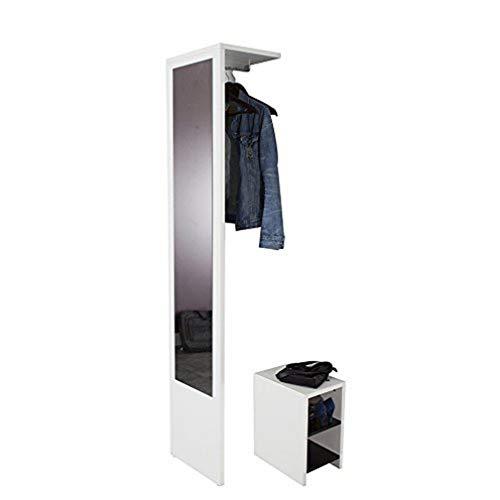 Symbiosis Vestibulo, Mobile Ingresso e Specchio, Bianco, 188 x 40 x 33 cm
