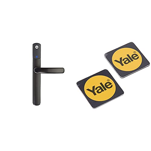 Yale SD-L1000-BL Conexis L1 Smart Keyless Door Handle for Home Security, Key Card and Phone Tag Included, Black Finish & P-YD-01-CON-RFIDPB Smart Door Lock Phone Tag, Black, Pack of 2