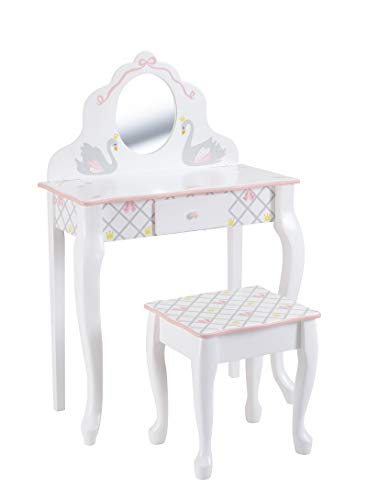 Fantasy Fields Swan Lake Ballerina Vanity Table & Hocker Set | Handgefertigte und handbemalte Kindermöbel aus Holz
