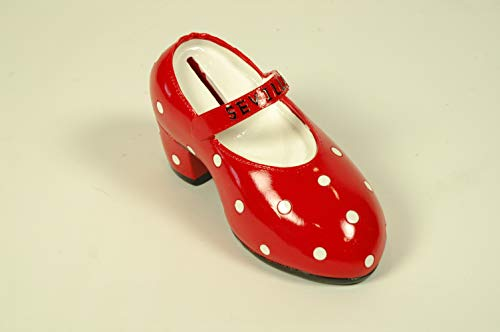 """Lote de 5 Huchas de Resina Decorativas""""Zapato Rojo-Sevilla"""". Regalos Originales. Decoración Hogar.Detalles de Bodas, Comuniones, Bautizos, Cumpleaños. 8 x 15 x 6 cm. IB 9"""