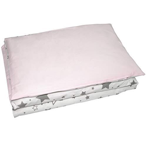 Balbina - Juego de ropa de cama reversible para bebé, diseño de estrellas, 100 x 135 cm, funda nórdica de 40 x 60 cm, 2 piezas, 100% algodón, con cremallera, color gris y rosa