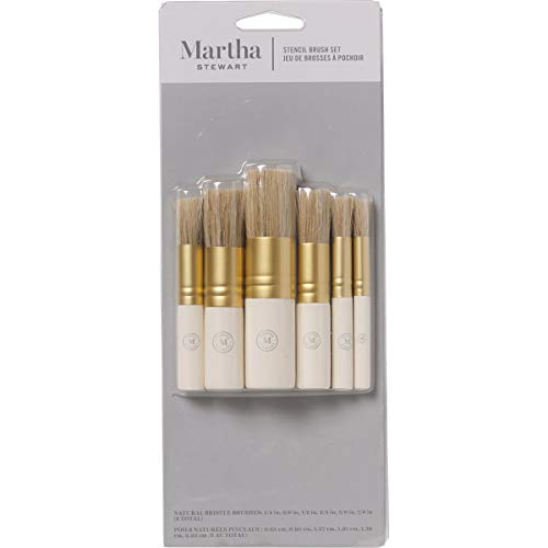 Martha Stewart Crafts Natural Bristle Stencil Brush Set, 6 Pieces