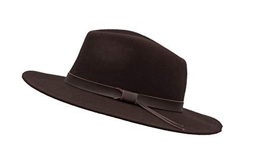 Walker & Hawkes - Unisex Ranger Fedora Crushable Felt Hat with Leather Trim - Brown - L (59cm)