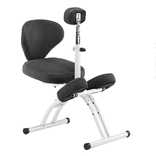 Kneeling Chair Orthopedic Chair for Children with Lifting Chest Protector Ergonomic Kneeling Chair with Backrest Height Adjustable Home Student Writing Chair (Color : Black)