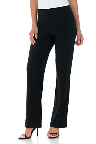 Rekucci Travel in Style Women's Soft Knit Classic Straight Leg Pant (Small, Black)