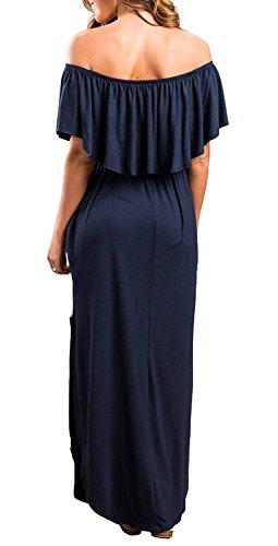THANTH Off The Shoulder Ruffle Maxi Dress, Navy Blue