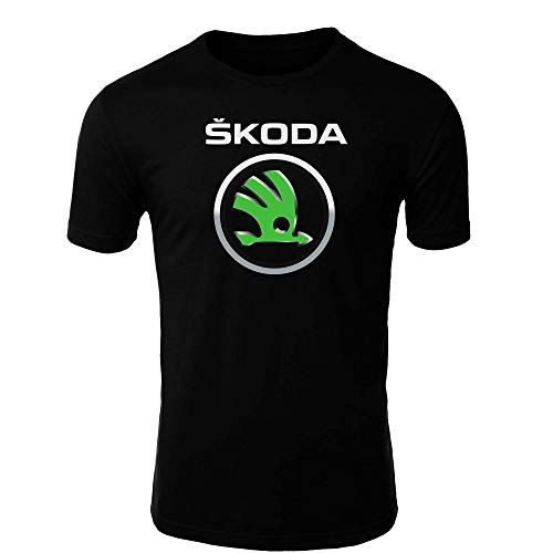 Skoda 1 T-Shirt Logo Clipart Herren CAR Auto Tee TOP Black White Short Sleeves (5XL, Black)