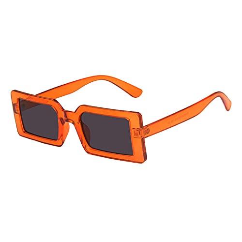 KAITUO Moda rectángulo Gafas de Sol Mujeres Verde Fluorescente Calle Tiro Gafas Negro Marco Grueso Femenino Fresco Sol Gafas Damas (Frame Color : 110, Lenses Color : Orange)