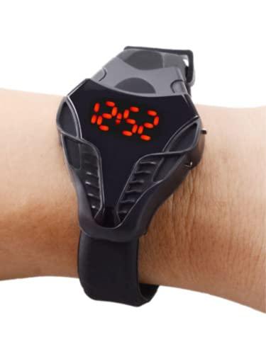 QWYU Reloj de los hombres Cobra de ocio llevó el reloj de la pantalla digital Triangular reloj deportivo de silicona negro