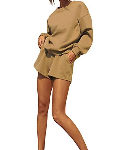 Conjunto de ropa de dos piezas para mujer con cuello redondo de manga larga y pantalones cortos de cintura elástica, caqui, S
