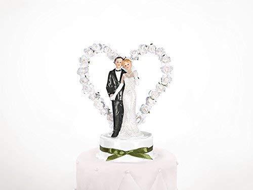 PartyDeco Statuina per Decorazione Torta Nuziale Sposi con, Bianco, 15 cm
