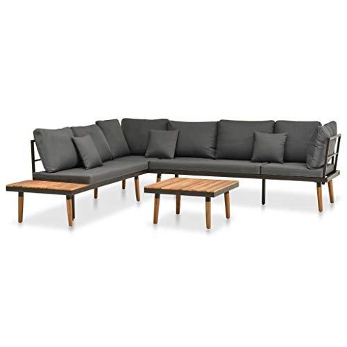Juego de muebles de jardín de 4 piezas con cojines de madera maciza de acacia.