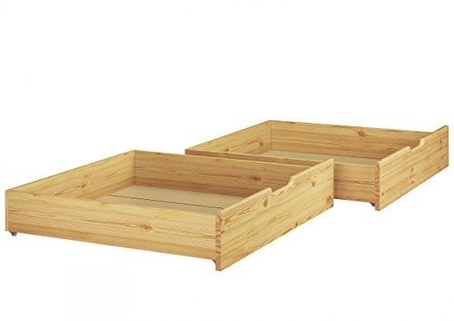 Erst-Holz® Bettkasten für unsere Etagenbetten - 2-teilig - Kiefer Natur - 90.10-S2