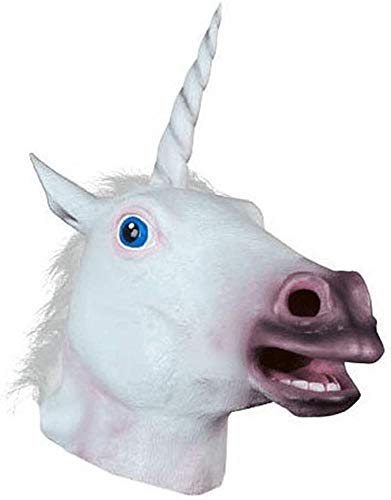 2014 Accoutrements White Unicorn Mask Latex Animal Horse Head Mask for Costume Play, Halloween, Christmas