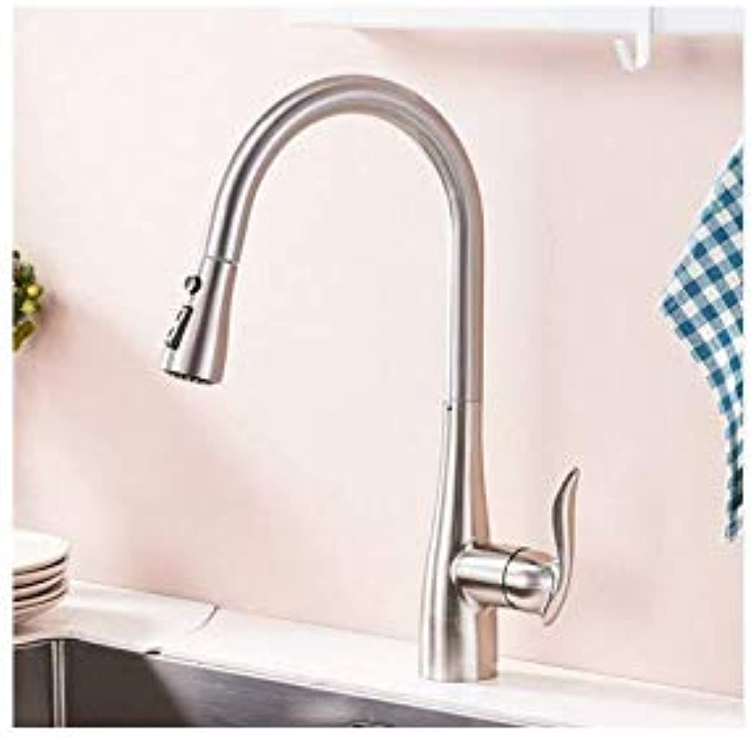 Brushed Nickel Kitchen Faucet Pull Down Out Kitchen Tap Single Handle Brass Faucets Cold and Hot Water Sink Mixer,A