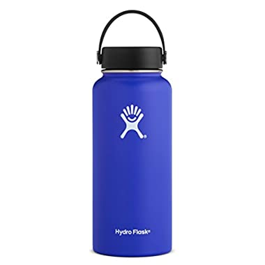 Hydro Flask 32 oz Double Wall Vacuum Insulated Stainless Steel Leak Proof Sports Water Bottle, Wide Mouth with BPA Free Flex Cap, Blueberry