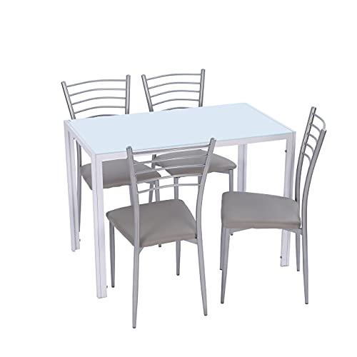 Noorsk Design Conjunto de Mesa y sillas de Cocina (105x60x75) (Blanco-Gris Claro)