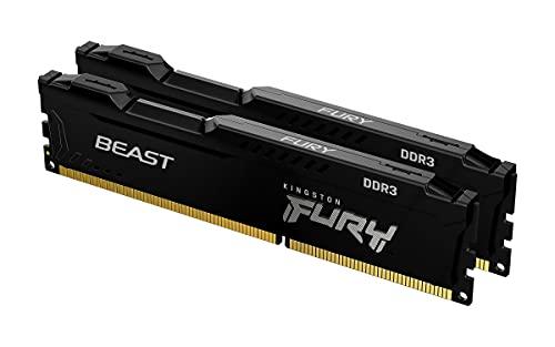Kingston FURY Beast Nero 16GB (2x8GB) 1866MHz DDR3 CL10 Memoria Gaming Kit per Computer Fissi Kit da 2 KF318C10BBK2/16