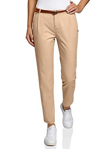 oodji Ultra Donna Pantaloni Basic Chino, Beige, IT 48 / EU 44 / XL