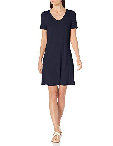 Amazon Essentials Short-Sleeve V-Neck Swing Dress, Bleu Marine, XL