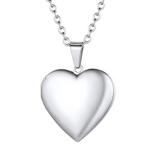 FOCALOOK Collar con Locket Corazón Personalizado para Mujer, Guardapelo para Meter Fotos, Relicarios Conmemorativos para Parejas, Joyería Romántica para Día San Valentín