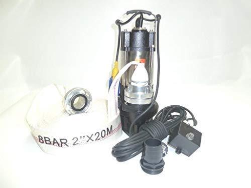 !! Profi !! INOX Fäkalienpumpe Schmutzwasserpumpe V750 mit Schneidwerk + Schaufelräder aus Edelstahl, Leistung 750Watt, Spannung 230V/50Hz, Fördermenge: 18000l/h + 20m C-Schlauch.