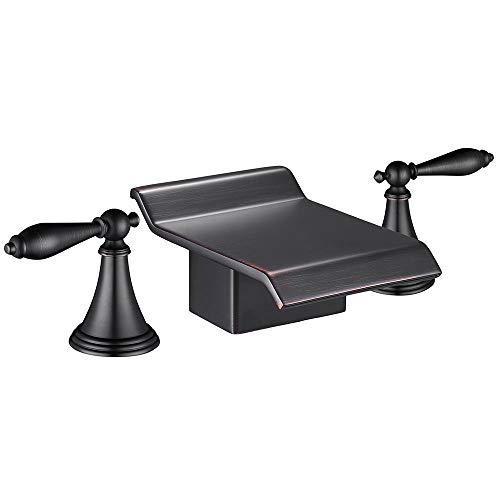 Aquaterior 3pcs Hot & Cold Water Waterfall Roman Faucet Bath Tub Vessel Sink Bathroom Tap Lavatory