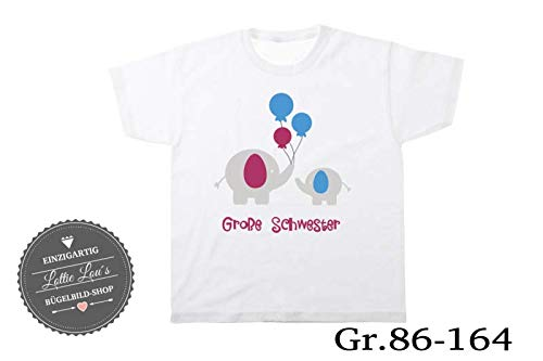 T-Shirt Geburtstag Großer Kleiner Bruder Elefant Elephant Luftballon Balloon in Wunschfarbe, Material, Name/Text Gr. 86-164