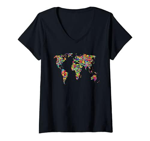 Mujer Niños Puzzle Mapa del Mundo Niños Niñas Atlas Global Camiseta Cuello V