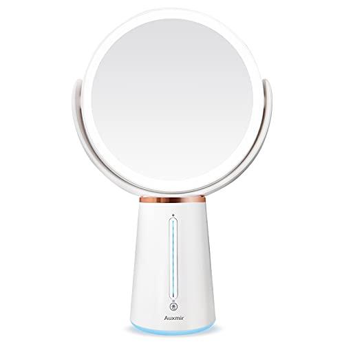 Auxmir Espejo Cosmético lluminado por LED con 1X/10X de Aumento, Espejo de Maquillaje de Doble Cara con 10 Brillos Regulables, Espejo de Afeitado Recargable, Giratorio 360°