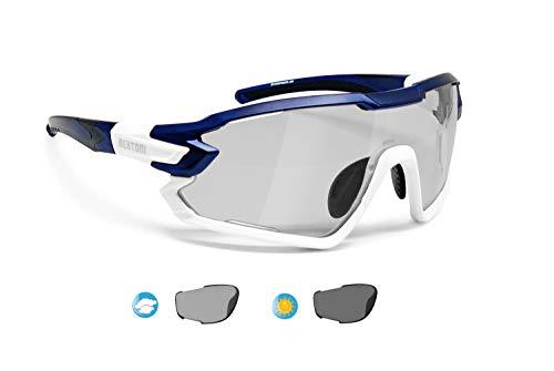 BERTONI Fahrradbrille Sport Sonnenbrille Radbrille MTB mit Sehstärke für Brillenträger mod. QUASAR (Blau-Weiß/Selbsttönende Polarisierte)