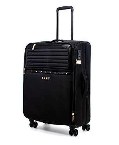 DKNY Studded Softside Spinner Luggage with TSA Lock, Deep Black, 25 Inch