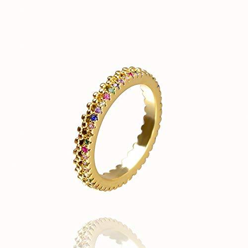 QWERTYU Dropshipping - Anillo de cristal arco iris para mujer, joyería de oro con circonita cúbica y anillo inicial para regalo LIJIANME (color: RA001 7, ringgrootte 6)