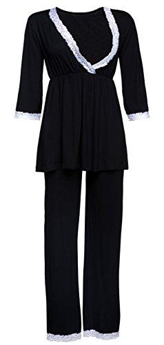 HAPPY MAMA Damen Umstands Nachthemd/Pyjama/Morgenmantel SEPARAT ERHÄLTLICH. 591p (Schwarz, 38, M)