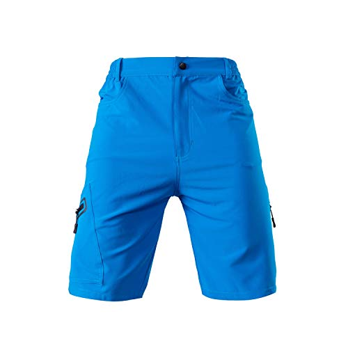 Cycling Shorts Mens Cycling Shorts Sports Baggy Lounge Loose Padded Zipper Pockets Breathable Running Gym Training Bicycle Riding Pants (Color : Blue, Size : M)