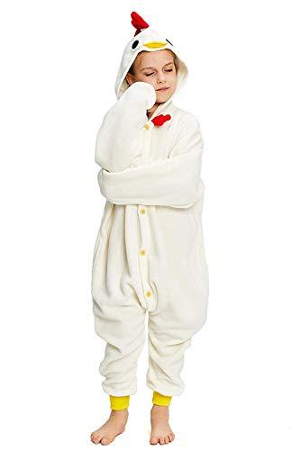 CANASOUR Kids Raccoon Onesie Animal Unisex Pajamas Children (4-10T) (115#(Size 8), White Chicken)
