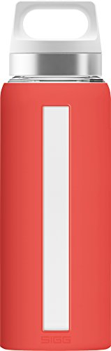 Gourde SIGG Dream Scarlet (0,65 L), gourde étanche, bouteille en verre avec une housse en silicone, sans produits toxiques et résistante à la chaleur
