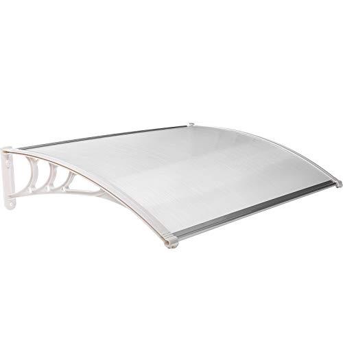 MVPOWER Vordach für Haustür 120x75x24cm, Überdachung Haustürvordach, Türvordach Pultbogenvordach, Hohlkammerstegplatten 5mm, Polycarbonat, transparent, Sonnenschutz Regenschutz für draußen, weiß