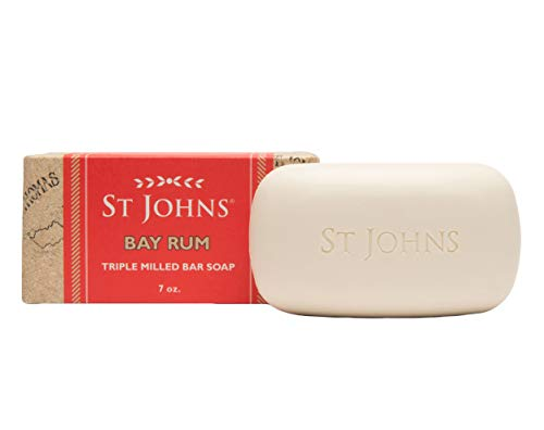 St Johns Bay Rum Soap Bar | USA Made, Triple-milled Mens Soap Bar | Hydrating Bar Soap for Men with Olive Oil & Glycerine | Luxury Body Soap Bar for men | (7 oz Bar)