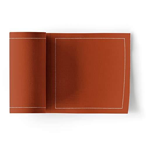 MY DRAP MYDRAP SA11/909-2 Table 11x11cm-Idéale pour fête, Cocktail, apéritif, Dessous de Verre-Rouleau de 50 Serviettes-Terracotta, Coton, 5 cm