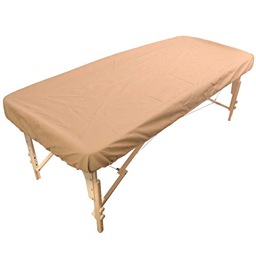 Massageliegenbezug Wasserabweisend und Ölabweisend aus Polyurethan für die Massageliege mit Gummizug - Pu-Bezug für Therapieliege (Beige)