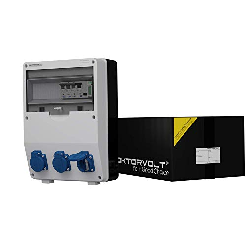 Baustromverteiler IP54 TD-S/FI 3x230V Fi-Schalter 40A 2P 10kA Stromzähler MID geeicht Mennekes Dosen Stromverteiler Wandverteiler Steckdosenverteiler 2862