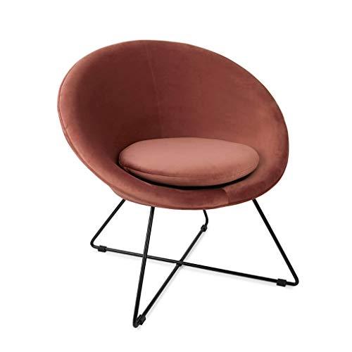 Butaca de diseño pequeña para Dormitorio Kane, Terciopelo, Color Rosa, cómoda, Mini sillón, Pata metálica,74x67x79 cm.